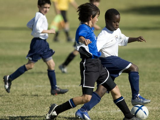 Competitive soccer play begins at age 7 at SC del Sol.