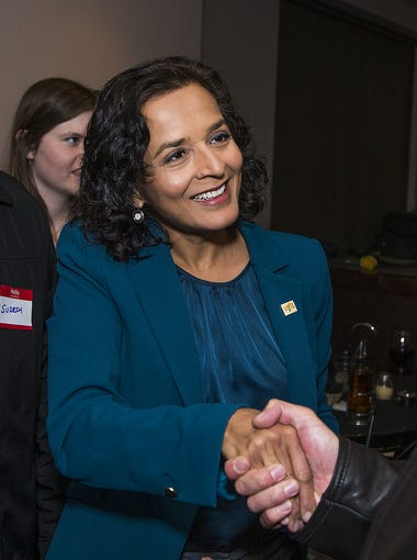 Hiral Tipirneni, greets supporters at her campaign gathering at Bottega Pizzeria Ristorante in Glendale on February 27, 2018.  The democrat is running in the special primary election.