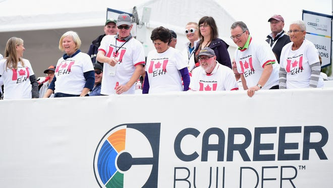 Canadian fans watch from the 17th hole during the CareerBuilder Challenge at the Stadium Course at PGA West in January.
