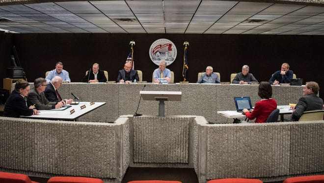 Wayne County Council and the county's commissioners met for a joint session at the Wayne County annex building Wednesday, March 21, 2018.