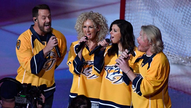 Little Big Town sings the National Anthem before the start game 3 of the second round NHL Stanley Cup Playoffs at the Bridgestone Arena Sunday, April 30, 2017, in Nashville, Tenn.