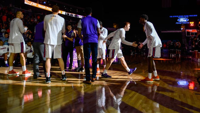 University of Evansville's Noah Frederking (30) is introduced as the University's of Evansville Purple Aces play the Missouri State Bears at the Ford Center Wednesday, January 10, 2018.