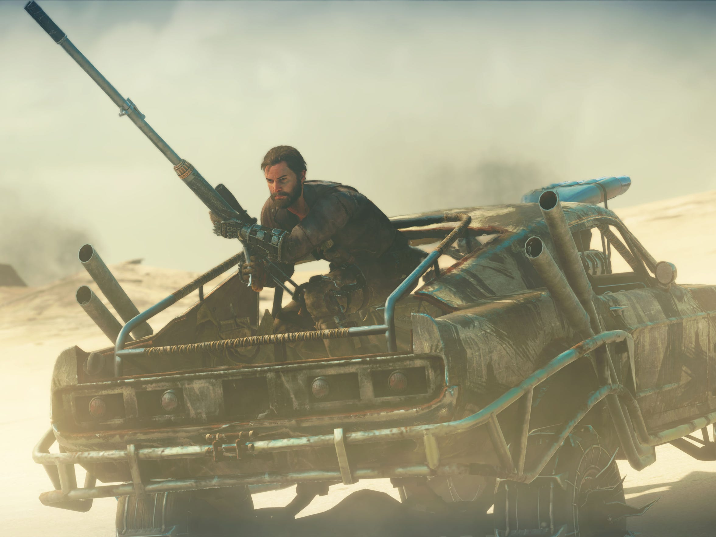 """You can trick out your car, the """"Magnum Opus,"""" with grinders, flamethrowers and sniper rifles in """"Mad Max."""""""