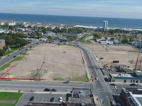 A drone image of lower Broadway in Long Branch. The block has been cleared for a redevelopment project.