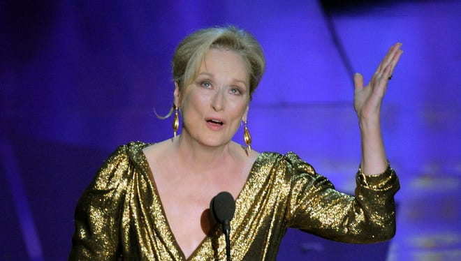Meryl Streep accepts the Oscar for best actress in a leading role for The Iron Lady during the 84th Academy Awards on Sunday, Feb. 26, 2012, in the Hollywood section of Los Angeles.