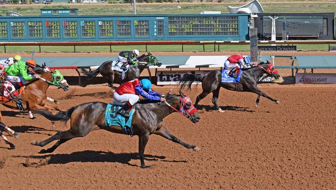 Hartstack's Daddys Blushing pushed his undefeated record to four wins from as many starts with a win over New Mexico-breds in the $392,586 Mountain Top Futurity at Ruidoso Downs on Saturday afternoon.