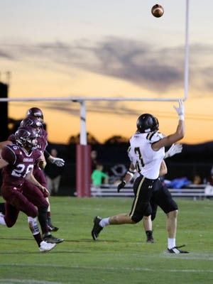 Buffalo Gap's Charles Weatherman is ready to catch a pass against Stuarts Draft during their game Oct. 10. Weatherman signed a National Letter of Intent on Wednesday to play football at Virginia Military Institute.