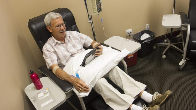 Donald Maron, 83, gets an infusion of a drug that, unlike any other treatment available, may slow the progression of Alzheimer's disease in mild and moderate cases. He was a part of the first phase study for the drug at the Neuropsychiatric Research Center of Southwest Florida in south Fort Myers.