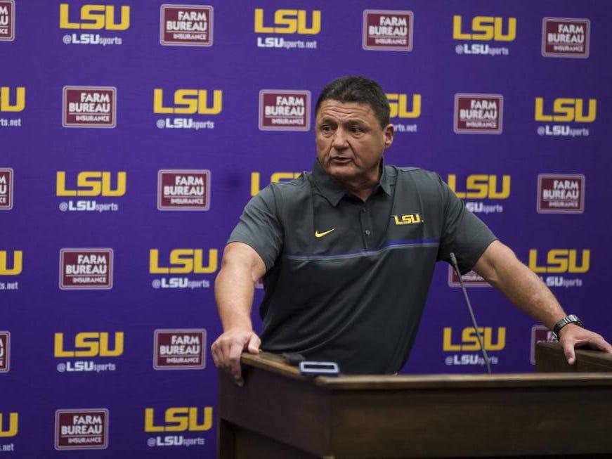 LSU coach Ed Orgeron talks with the media on Sunday.