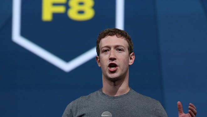 Facebook CEO Mark Zuckerberg delivers the opening keynote at the Facebook f8 conference.