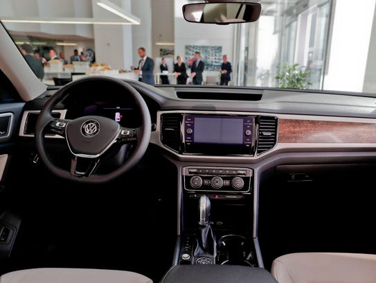 The interior for the 2018 Volkswagen Atlas on the showroom