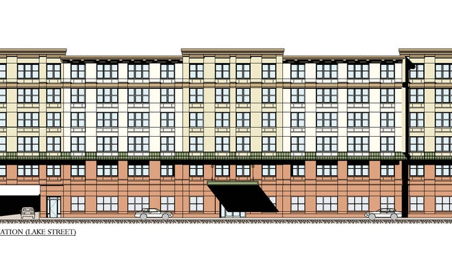 A rendering of the six-story affordable apartment building proposed for the vacant Lake Street lot, to be built by Mount Hope AME Zion Church in White Plains.