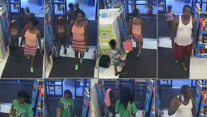 Gloucester Township police are seeking three adults who took five children along when they shoplifted from a Rite Aid store.
