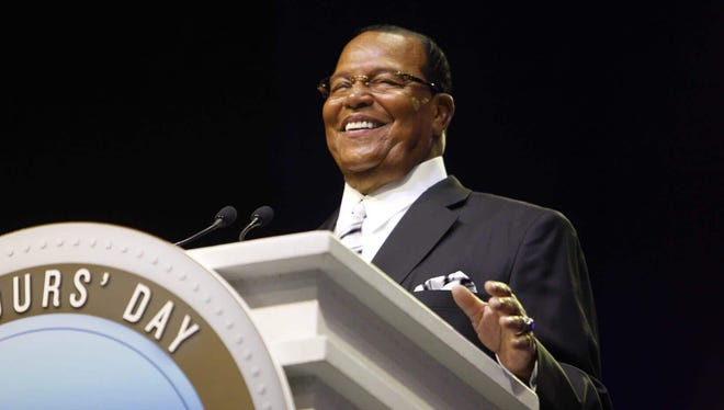 Minister Louis Farrakhan speaks to a packed crowd during the Nation of Islam convention Sunday, Feb. 19, 2017, at Joe Louis Arena in downtown Detroit. The convention has been held in Detroit three of the last four years.