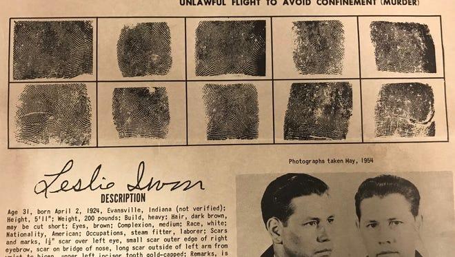 Leslie Irvin's FBI wanted poster.