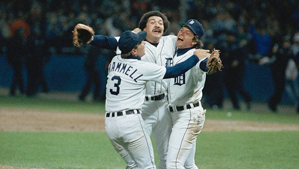 """Guillermo Hernandez (then """"Willie""""), center, was such an important part of the Tigers' 1984 championship team that he was named AL Cy Young winner and MVP."""