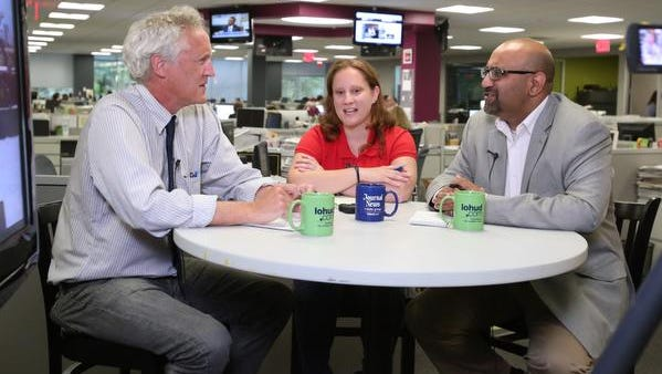 Join transportation reporters Theresa Juva-Brown and Khurran Saeed, seen here chatting with columnist Phil Reisman in the lohud newsroom, for a Tappan Zee discussion on Nov. 1 in Tarrytown.