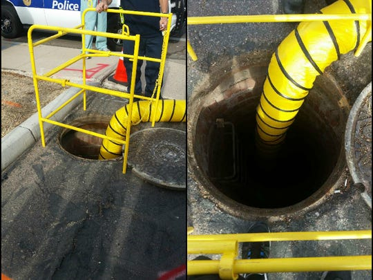 A construction worker fell 20 feet into this manhole on July 20, 2016, according to the Phoenix Fire Department.