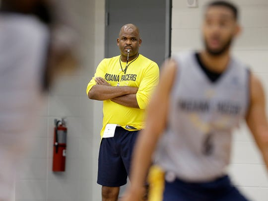 Indiana Pacers head coach Nate McMillan watches his