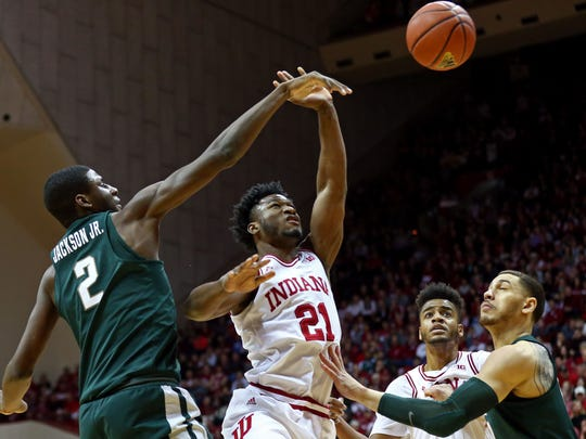 Michigan State Spartans forward Jaren Jackson Jr. (2) blocks a shot by Indiana Hoosiers forward Freddie McSwain Jr. (21) in the first half at Assembly Hall, Saturday, Feb. 3, 2018.
