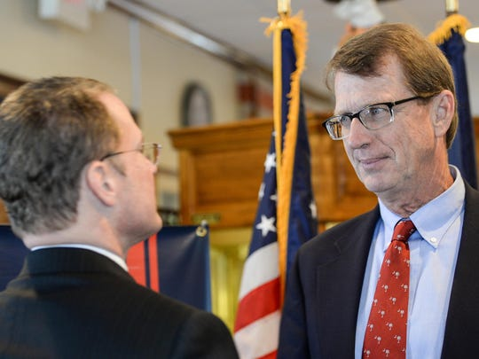 Lt. Gov. Kevin Bryant, left, speaks with State Sen. Richard Cash after speaking to media about pro-life, during a press conference at the Coach House restaurant in Simpsonville on Monday.