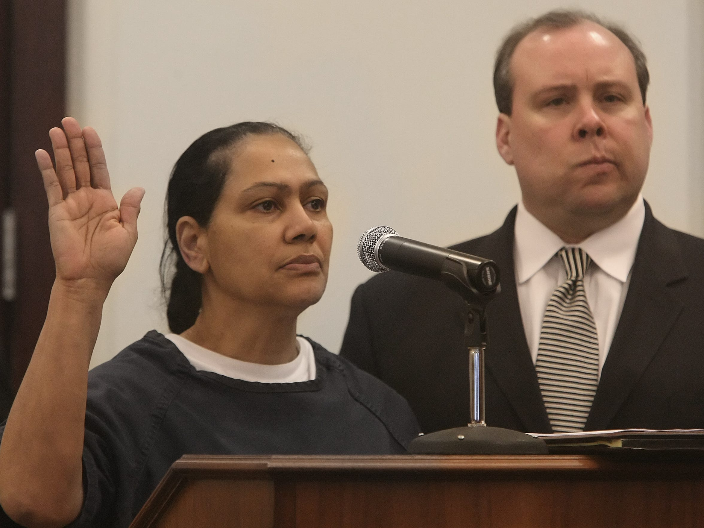 Dr. Mireille Lalanne, seen here during a 2009 court hearing, is one of several Nashville doctors identified in a Tennessee state lawsuit against Purdue Pharma. State officials allege that a clinic run by Lalanne and her ex-husband, Visuvalingarn Vilvarajah, showed obvious red flags but but Purdue continued to market Oxycontin to her clinic. Lalanne was convicted of drug trafficking in 2010.
