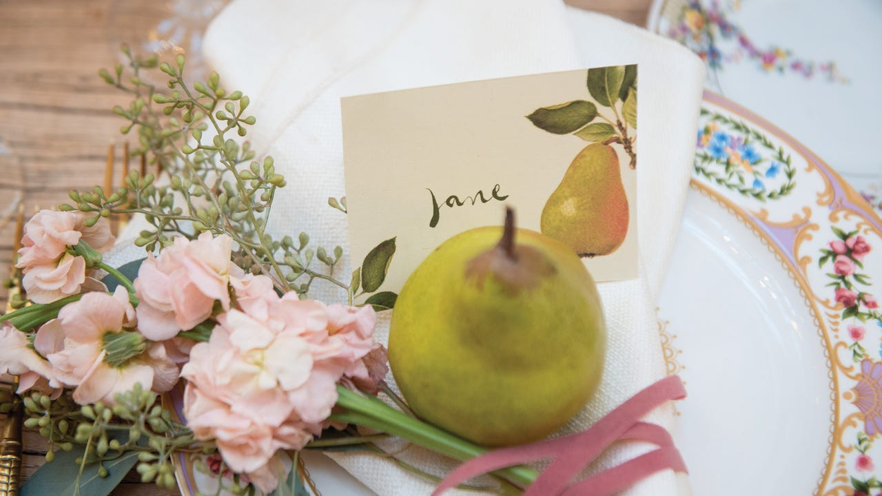 "Meg Low Nobile of Fresh and Fancy Farms in New Milford creates a ""Perfectly Pear"" themed bridal shower in the barn."