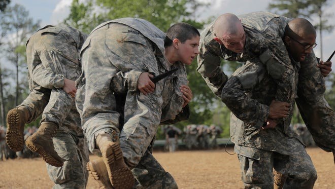 Griest participates in training at Ranger School on April 20 at Fort Benning, Ga.
