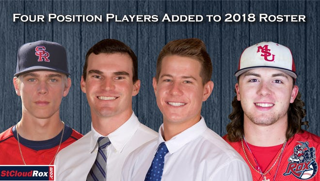 The St. Cloud Rox have added (from left) catcher Hance Smith, infielders Ryan Davis and Ryan Weisenberg and outfielder Michael Borst to its roster for this summer.