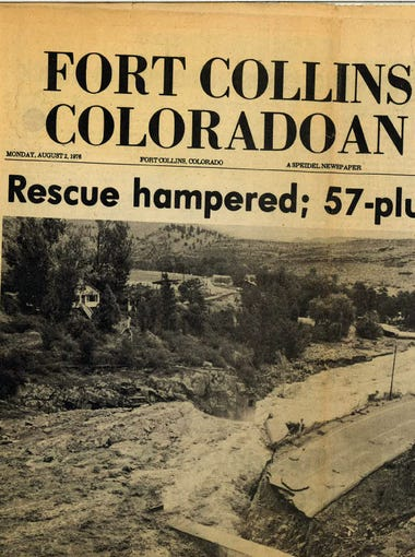 The front page of the Coloradoan, Aug. 2, 1976 -- two days after the Big Thompson Flood.