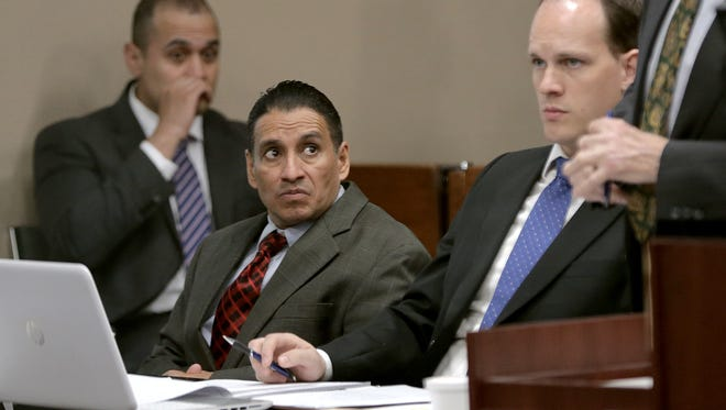Luis Enrique Rodriguez, second from left, was convicted of the lesser charge of engaging in organized criminal activity-murder, a first-degree felony, in the shooting death of Roberto Renteria, 19, in August 2012 near Socorro.