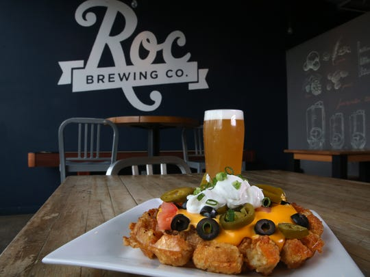 The loaded tot waffle at Roc Brewing Co. in downtown