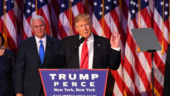 President-elect Donald Trump speaks to supporters at New York Hilton Midtown on Election Night.