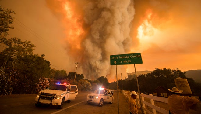 The Sand Fire burns in the Angeles National Forest on July 23, 2016, under triple-digit heat.