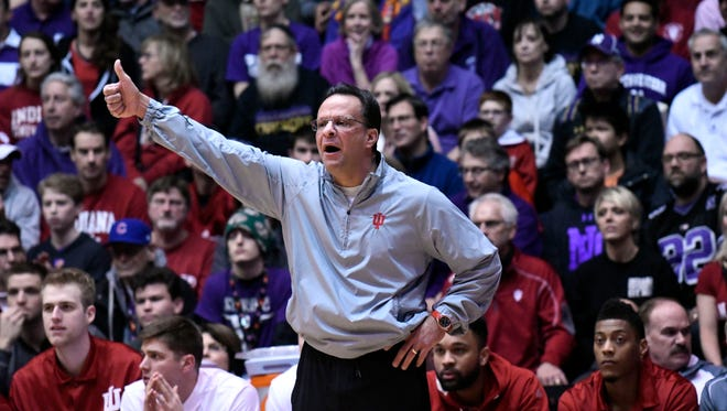 Indiana Hoosiers head coach Tom Crean gives instructions to his team against the Northwestern Wildcats during the first half at Welsh-Ryan Arena.