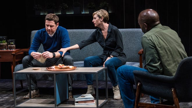 """Brian Vaughn plays Brad, Tessa Auberjonois plays Jodie and Corey Jones plays Tate in the Utah Shakespeare Festival's 2017 production of """"How to Fight Loneliness."""""""