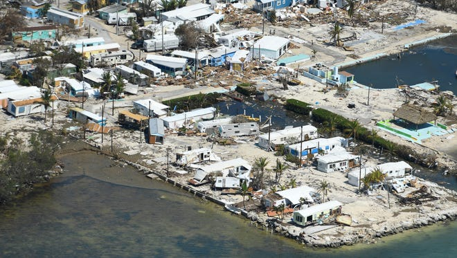 Hurricane Irma damage to the lower Florida Keys.