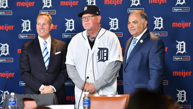 Chris Ilitch, left, and Al Avila introduce Ron Gardenhire as the new Detroit Tigers manager on Friday.