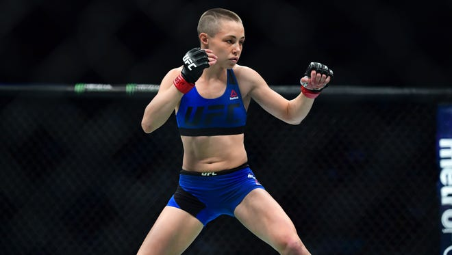 Rose Namajunas fights Michelle Waterson during UFC Fight Night at the Sprint Center in Kansas City in April 2017.