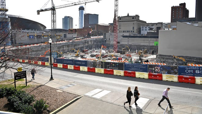 Tourism officials in NashvilleÊhave given theÊtransit proposal their endorsement, butÊdowntown business owners have mixed outlooks for the massive projectÊand whether it will benefit downtown or the city overall. Construction at Fifth and Broadway where the old convention center was is ongoing. 