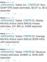 Financial firm Selerity tweeted Twitter's financial
