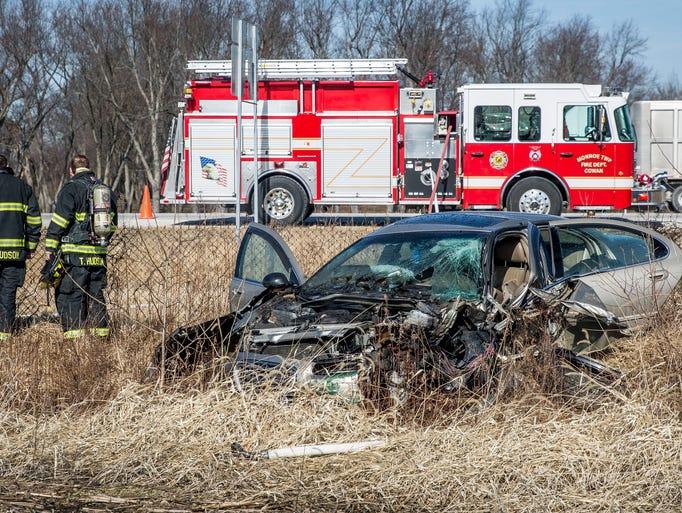 A car crash along East Delaware County Road 300-S.