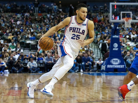 Philadelphia 76ers guard Ben Simmons (25) drives to