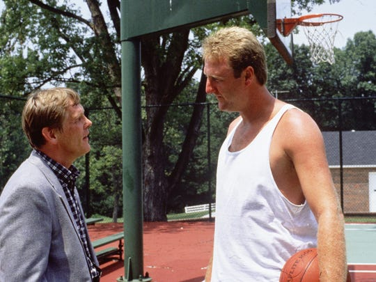 Larry Bird (right) appears as a friend of coach Pete
