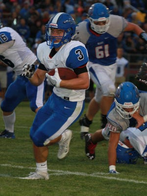 Montezuma's Carson Losure, 3, ran for 157 yards on 34 carries in the Braves 24-14 victory over the BGM Bears in Brooklyn on Friday, Aug. 26.