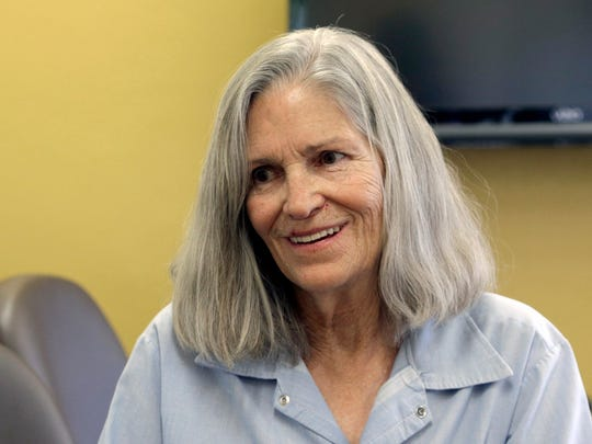 Former Charles Manson follower Leslie Van Houten confers with her attorney, Rich Pfeiffer, not shown, during a break from her hearing before the California Board of Parole Hearings at the California Institution for Women in Chino, Calif., Thursday, April 14, 2016.