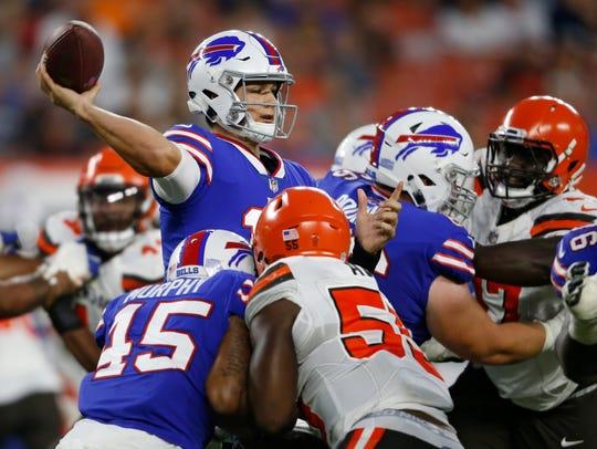 Buffalo Bills quarterback Josh Allen throws a pass