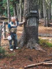 Maynard Drawson stands next to the Judge Waldo Heritage Tree in the Upper Klamath National Wildlife Refuge on Island Lake. The photo was taken in September 2001.