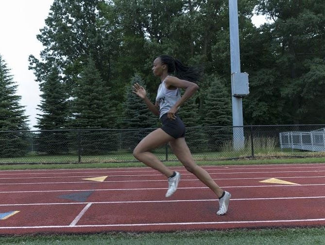 Anavia Battle prepares for the AAU Junior Olympics during practice at Wayne Memorial.