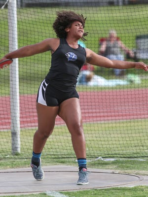 Cathedral City thrower Maijoy Wooten, seen here throwing the discus at the DVL meet, was the only desert athlete to win at the CIF preliminaries on Saturday, capturing the title in the Division 3 shot put.